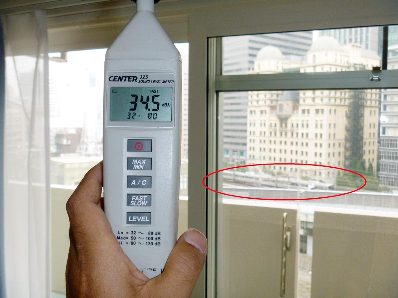 内窓プラスト設置後の騒音測定値