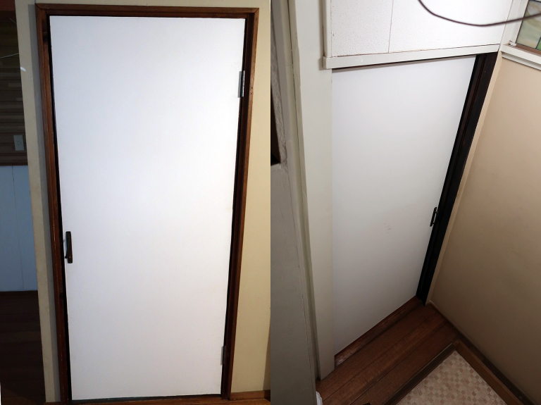 施工前の既存ドア(外側&内側)
