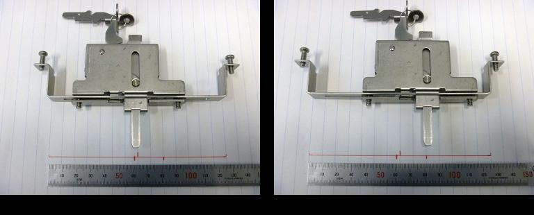 エコアマド下部錠標準位置と右に20mmスライド